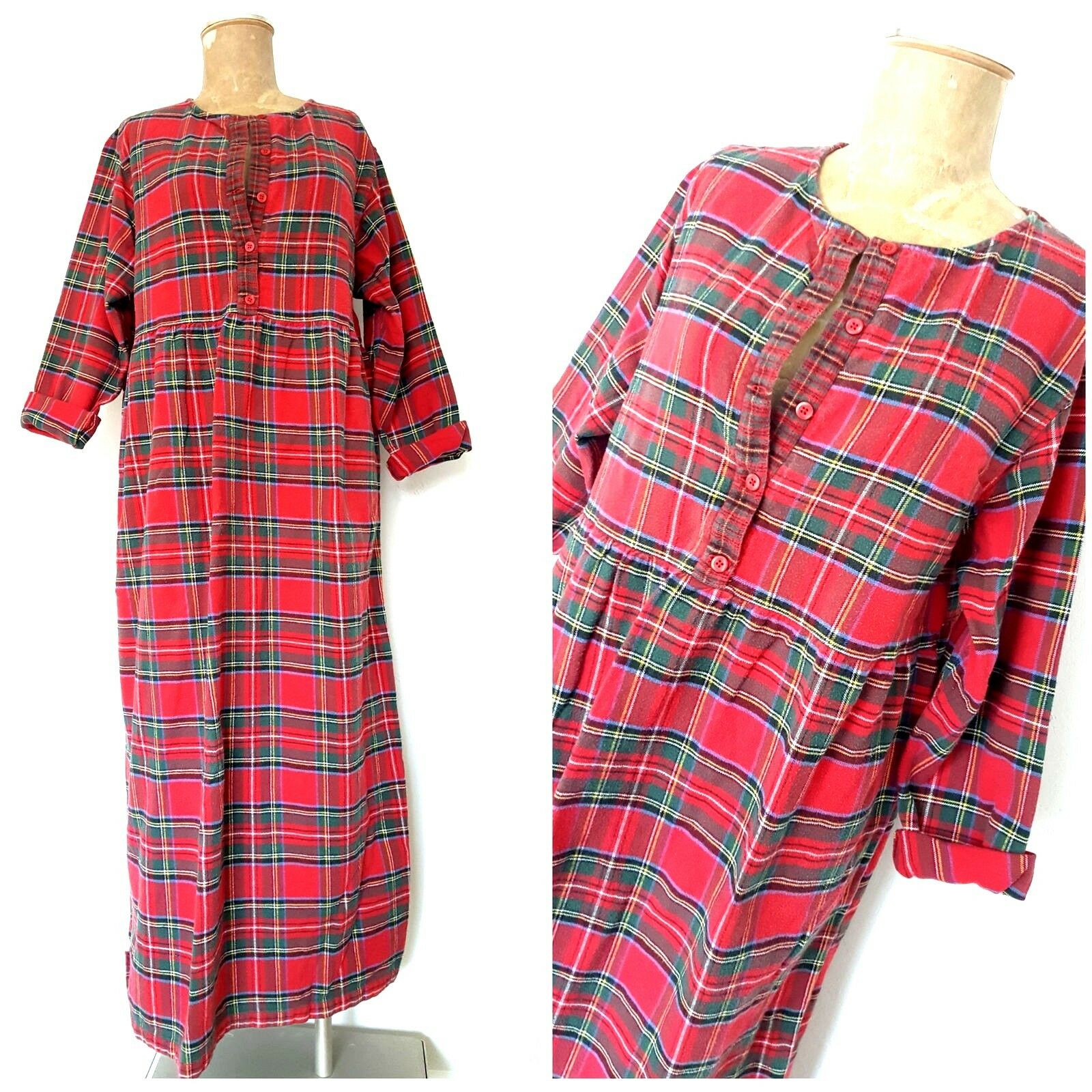 Vintage 90s lannel Dress Size Large Plaid Button Front
