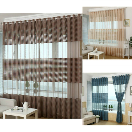 Striped Curtain Tulle Voile Window Treatments Living Room Bedroom Home Decor