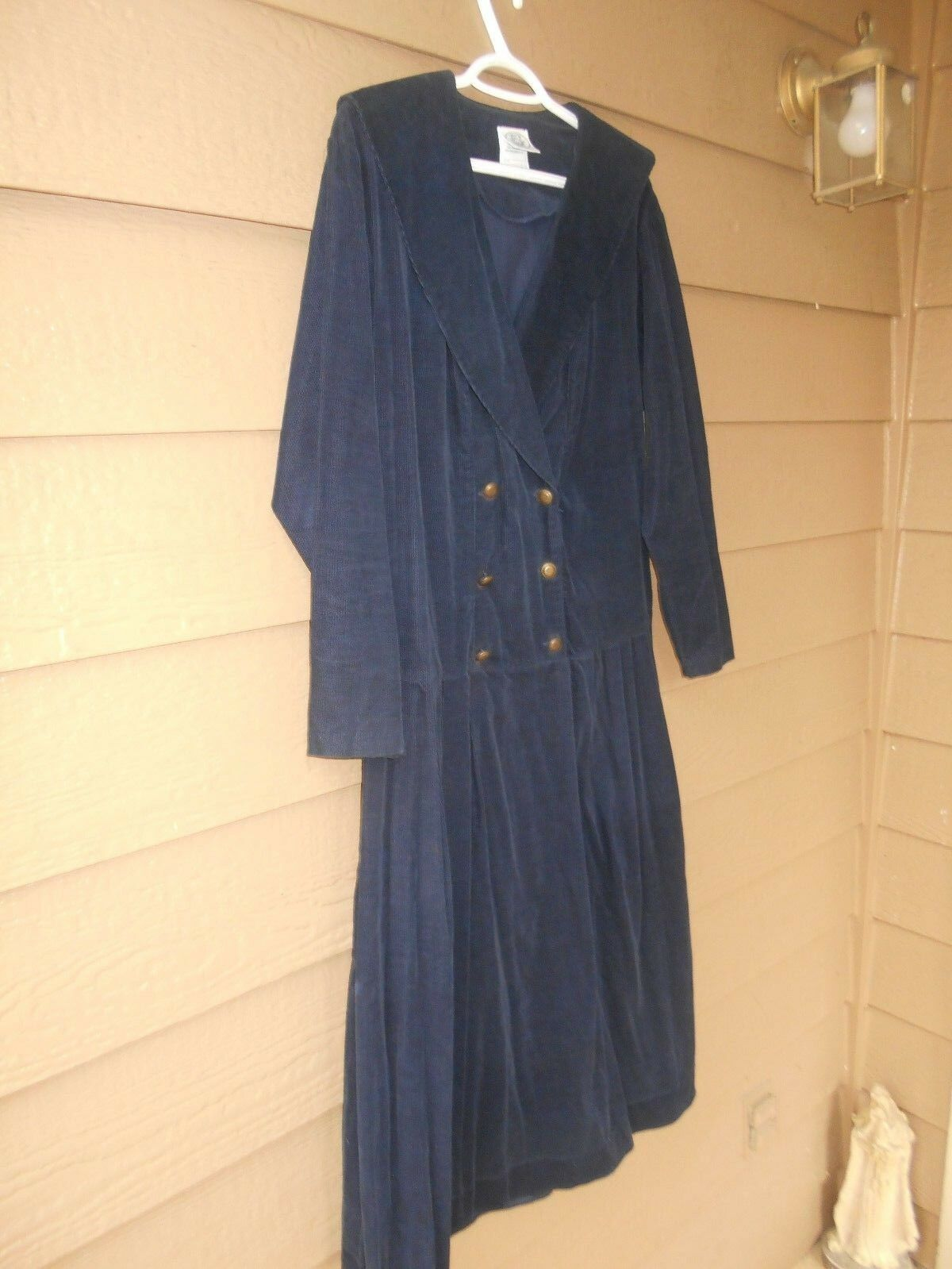 Vintage Laura Ashley Navy bluee Women's Dress 100% Cotton Size 12 Pre-Owned