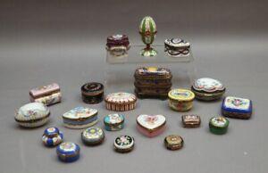 21 x kleine Porzellan Döschen LIMOGES FRANKREICH handbemalt u.a. Versace