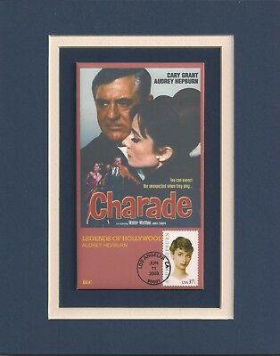 Frameable Postage Stamp Art 0389 Charade Audrey Hepburn / Cary Grant