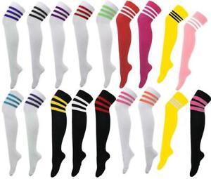 a5b0e1e50 womens Over the Knee Referee Socks 3 Stripe Cotton Colour Long ...