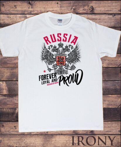 Mens T-Shirt Football Russia Loyal and Proud Russian By Birth Crust Print TS1133