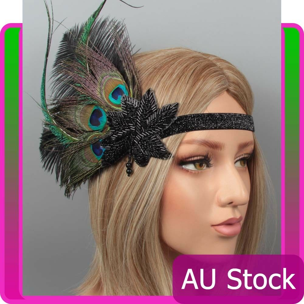 20s Peacock Gatsby Headpiece Flapper 1920s 20s Costume Headband Feather Gangster