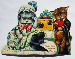 Diecut-Mechanical-Valentine-CATS-LISTEN-RADIO-Anthropomorphic-Germany-Vtg-Rare