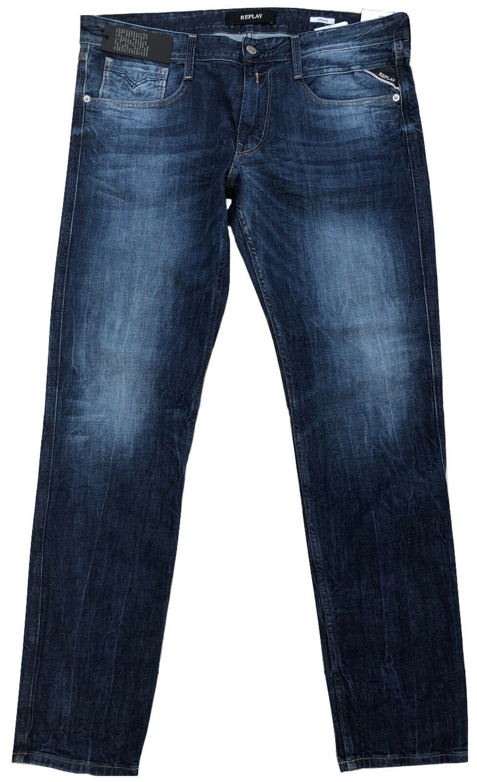 Replay Men's Anbass M914 Jeans 34 x 32 Slim Skinny Fit New Blau Stretch
