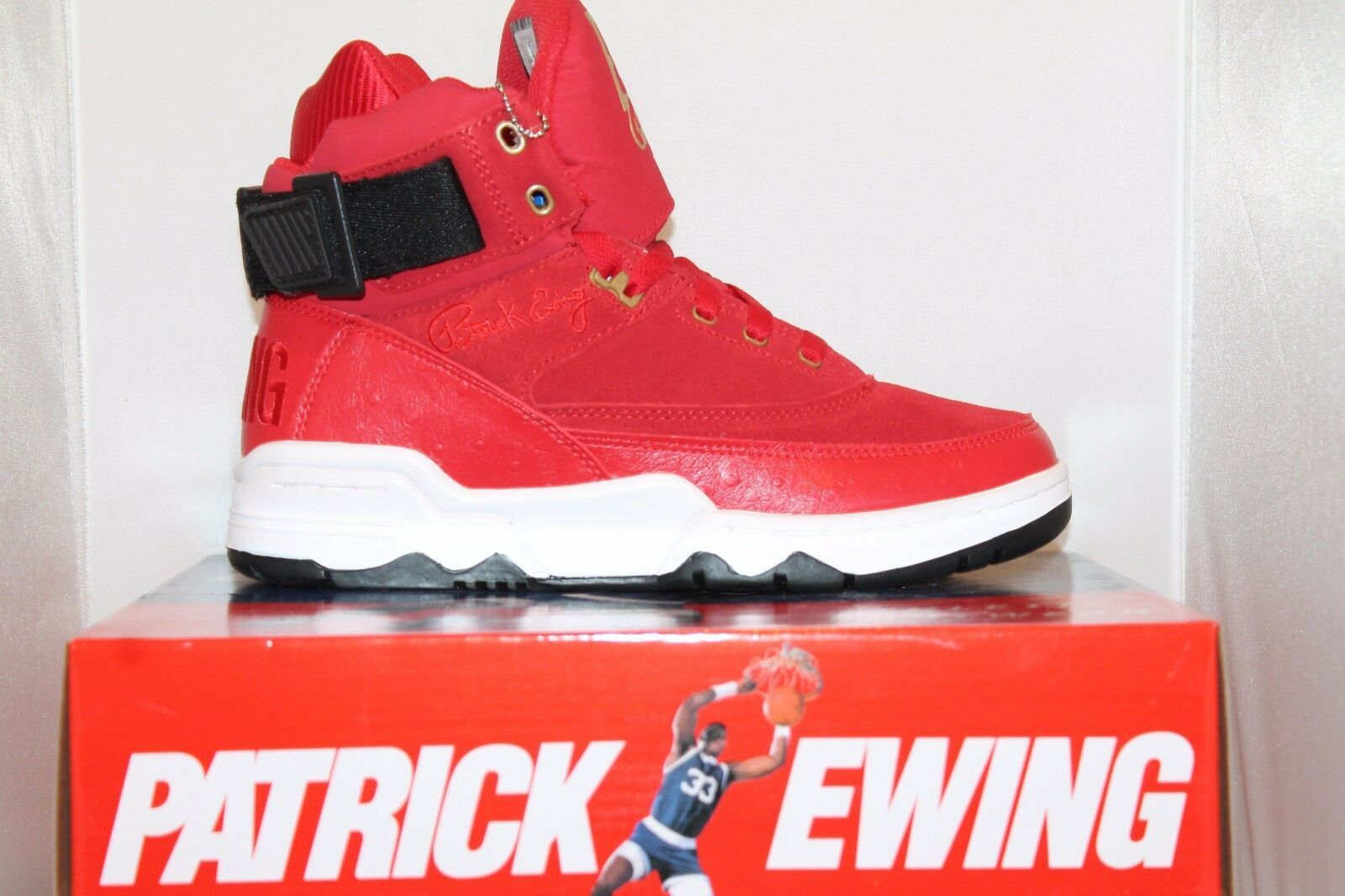Mens Patrick Ewing Athletics 33 HI Retro Basketball Shoes Red Black White Gold