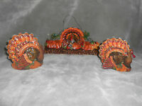 Thanksgiving Fall Turkey Tin Candle Holders & Wall Plaque Set