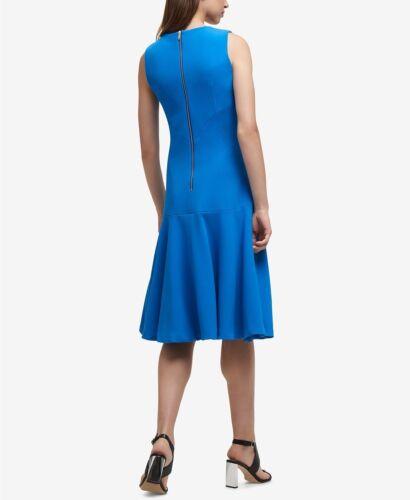 Dkny Nwt Exquisit Blau V Ausschnitt Fit/&flare Gesteppt Kreppkleid Größe 0 To 16