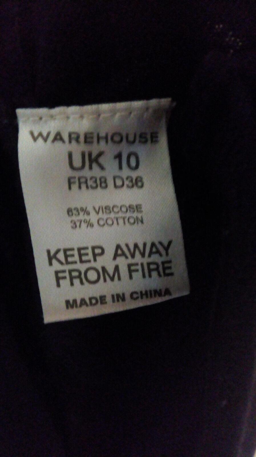 Warehouse Coton Mélangé Sans Manches Noir Robe 10 Pull Boutons Taille UK 10 Robe 293f71
