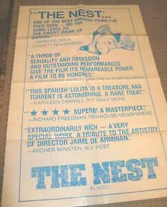 """1980 THE NEST """"EL NIDO"""" (R) SPANISH DRAMA 27"""" x 41"""" One-Sheet Theater Poster VG+"""