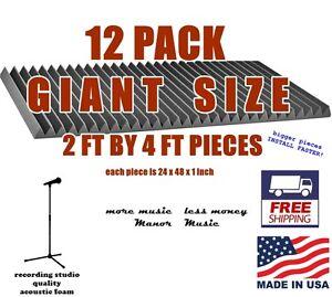 12-pc-24x48-acoustic-wedge-foam-tiles-recording-studio-soundproofing-soundbooth