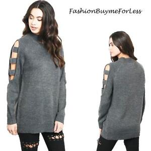 Haute-BOHO-Gray-Gothic-Oversized-Cut-out-Sleeve-Knit-Tunic-Sweater-Top-S-M-L-XL