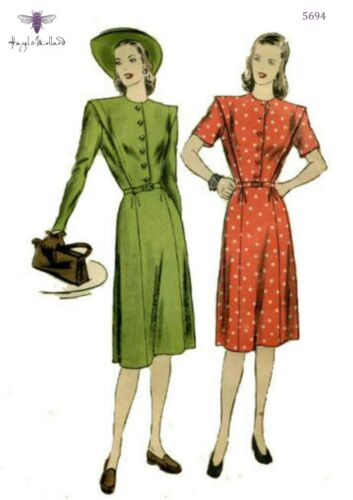 Vintage 1940s Sewing Pattern Buttoned Front Midi Dress WWII WW2 Bust 34/""