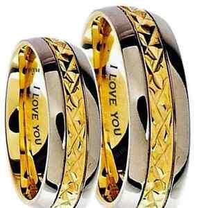 Son-et-sien-de-7mm-grave-I-Love-You-gold-tone-Mariage-Fiancailles-band-ring-set