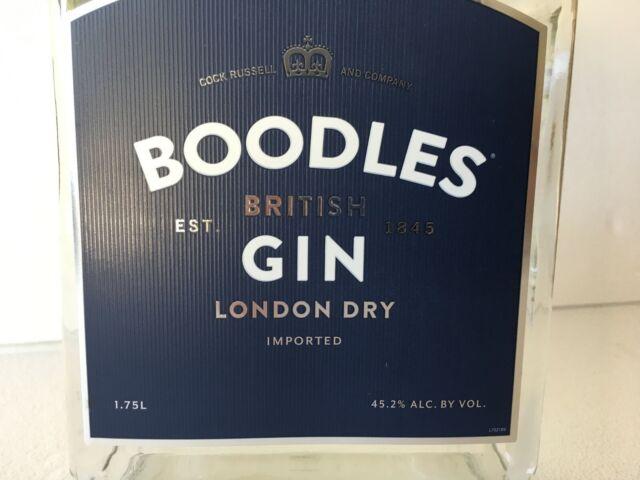 1 EMPTY BOODLES BRITISH LONDON DRY GIN BOTTLE W//CAP 1.75 L