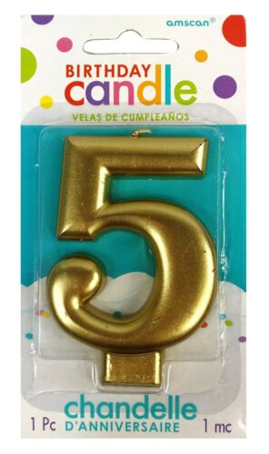 "Amscan 3.25/"" Metallic Gold Molded #5 number 5 Birthday Party Candle"