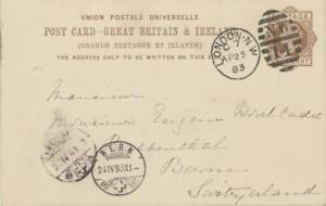 GB-1883-QV-1d-postcard-w-Duplex-034-LONDON-N-W-N-W-14-034-to-BOREL-UPU-DIRECTOR