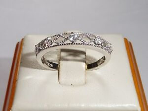 Ladies-Hallmarked-Sterling-925-Solid-Silver-Brilliant-Cut-White-Sapphire-Ring