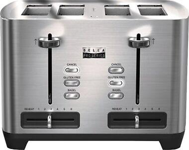 Bella Pro Series 4-Slice Wide/Self-Centering-Slot Toaster