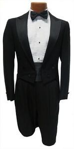 41L Black Tuxedo Peak Lapel Tailcoat Package Jacket Pants Tie Madi Gras Wedding