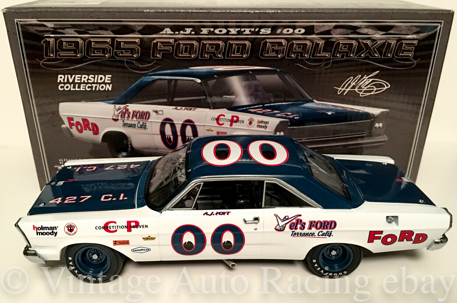 1965 A.J. FOYT AUTOGRAPHED AUTOGRAPHED AUTOGRAPHED FORD GALAXIE VEL'S FORD 1 24 UNIVERSITY RACING bef419