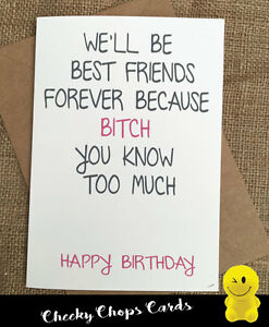 Funny Rude Cheeky Chops Cards Birthday Card Best Friend Friends