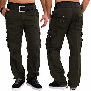 Hommes-Cargo-Pantalon-100-coton-robuste-pantalon-cargo-pantalon-de-travail