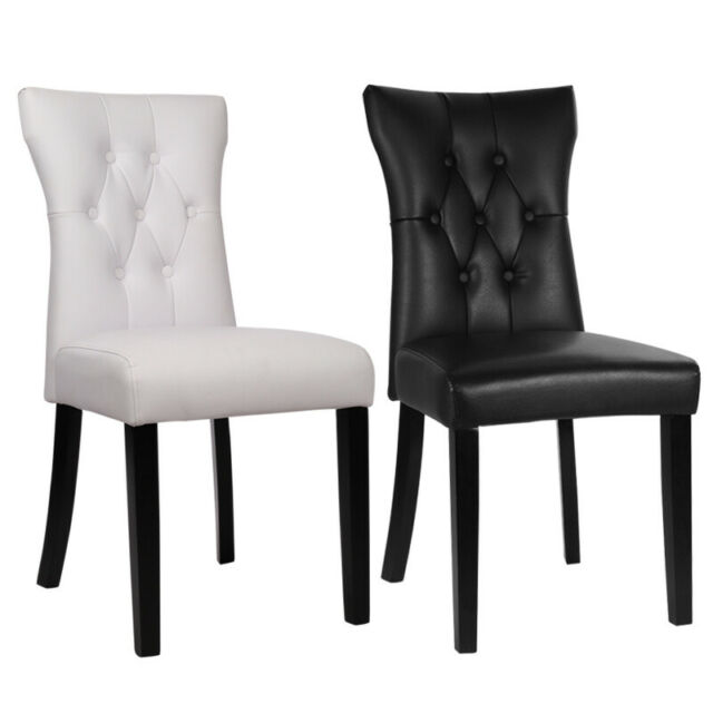 Fantastic Modern Faux Leather Dining Chairs Set Of 2 High Back Seat Kitchen Room Qdzh01645 Unemploymentrelief Wooden Chair Designs For Living Room Unemploymentrelieforg