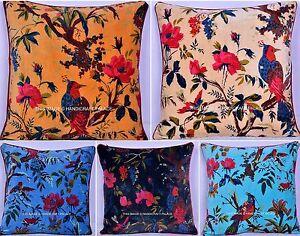 Wholesale-Lot-Of-50-PC-Indian-Velvet-Bird-Print-Cushion-Cover-Pillow-Cover-Decor