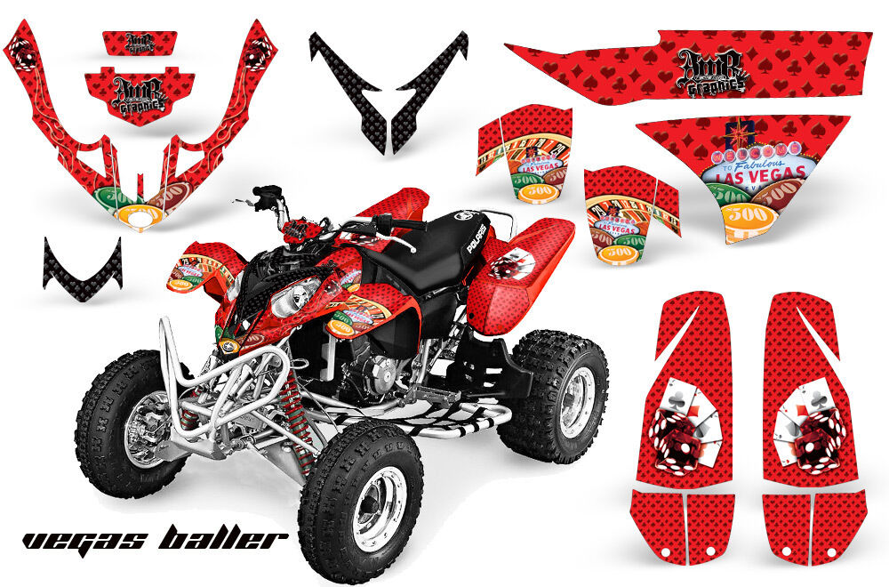 Atv Grafik Kit Quad Aufkleber Aufkleber Aufkleber für Polaris Protator 500 2003-2007 Vegas Rot b7de09
