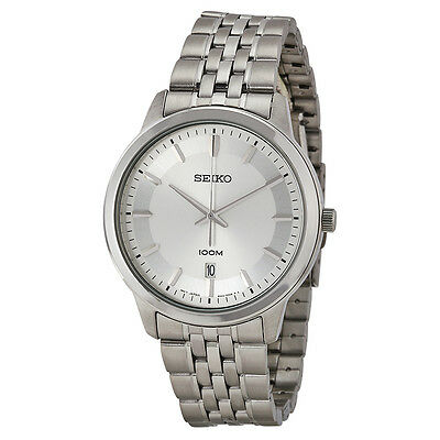 Seiko Silver Dial Stainless Steel Mens Watch SUR027