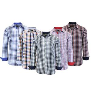 Mens-Long-Sleeve-Dress-Shirts-Slim-Fit-Casual-100-Cotton-Plaid-Lounge-Work-NEW