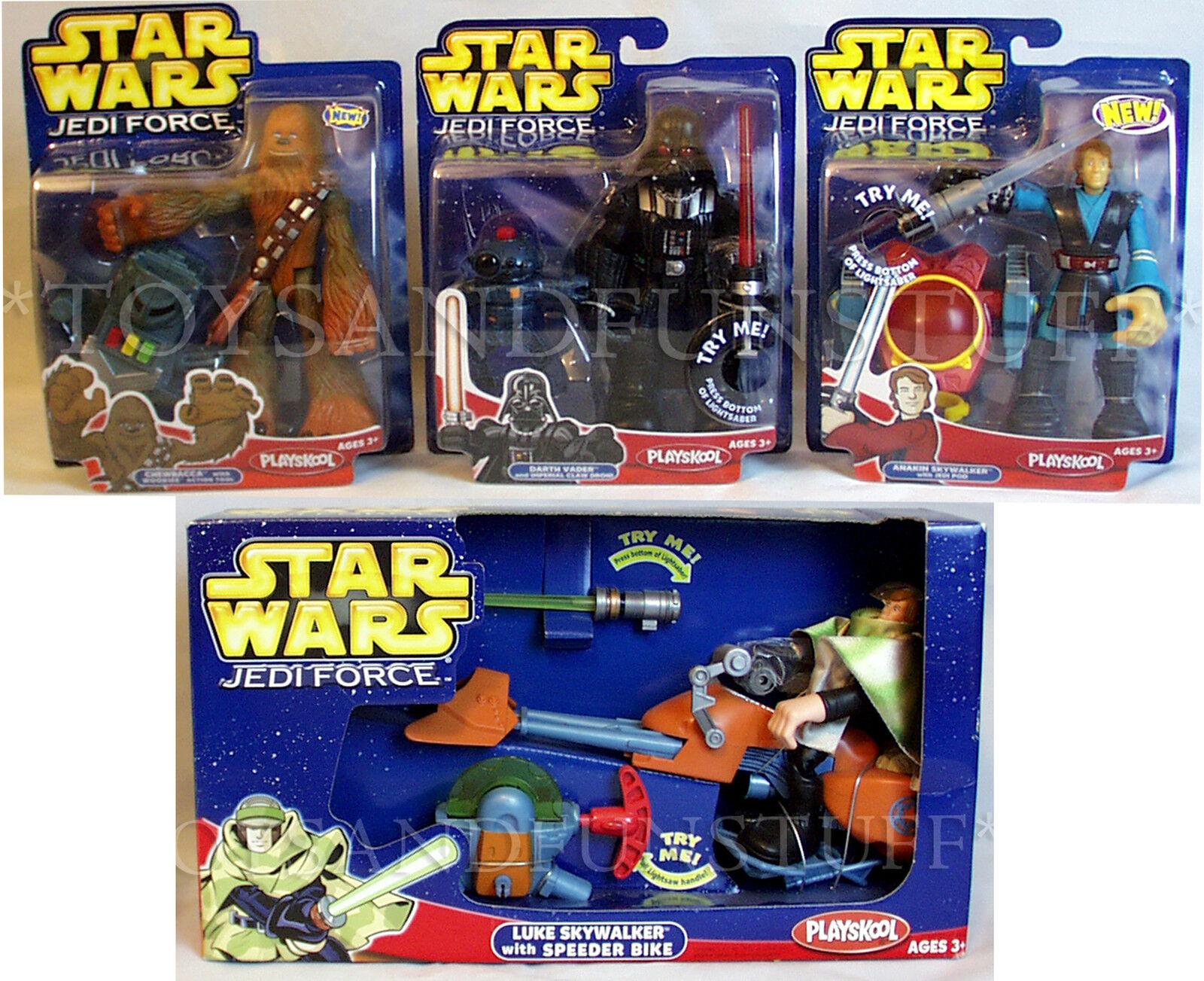 Nuevo 2004 Jedi Force Speeder Bike Darth Vader Chewbacca Anakin Figura De Star Wars