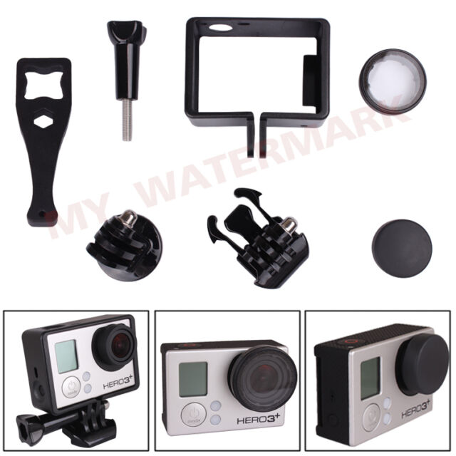 Frame Mount +UV Protective Glass Lens Cap+Tripod Adapter for GoPro Hero 3 3+ 4