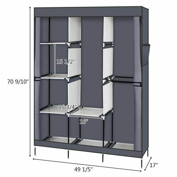 Portable 4-Layer Closet Storage Organizer Wardrobe Clothes Rack With Shelves