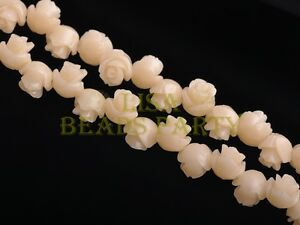 30pcs-8mm-Flower-Rose-Synthetic-Coral-Loose-Spacer-Beads-Findings-Beige