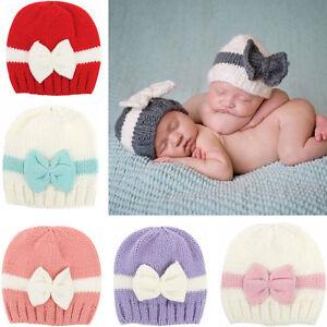 Nouveau-Né Bébé Fille Garçon Tout-Petit Enfant Nœud Tricot Crochet ... e24a787a681
