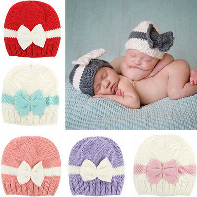 Newborn <b>Baby Girl</b> Boy Infant Toddler Bow Knit Crochet Hat <b>Winter</b> ...