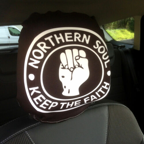 Black /& White Northern Soul Fist Design Car Seat Head Rest Covers Pack Of Two