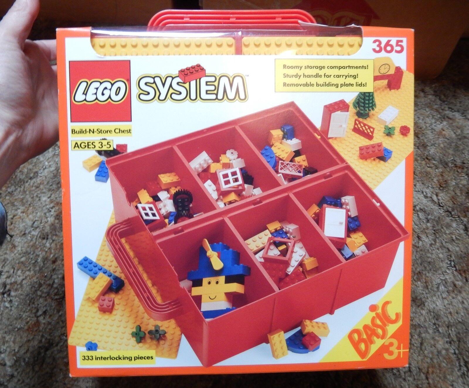 Vintage Neuf Lego set   365 Build-N-store 333 PC 3+ ans de 1992 W Boîte de rangement