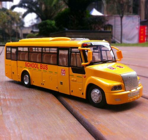 23.8cm School Bus 1:50 Scale Diecast Metal Alloy Pull Back Car Model Yellow Toy