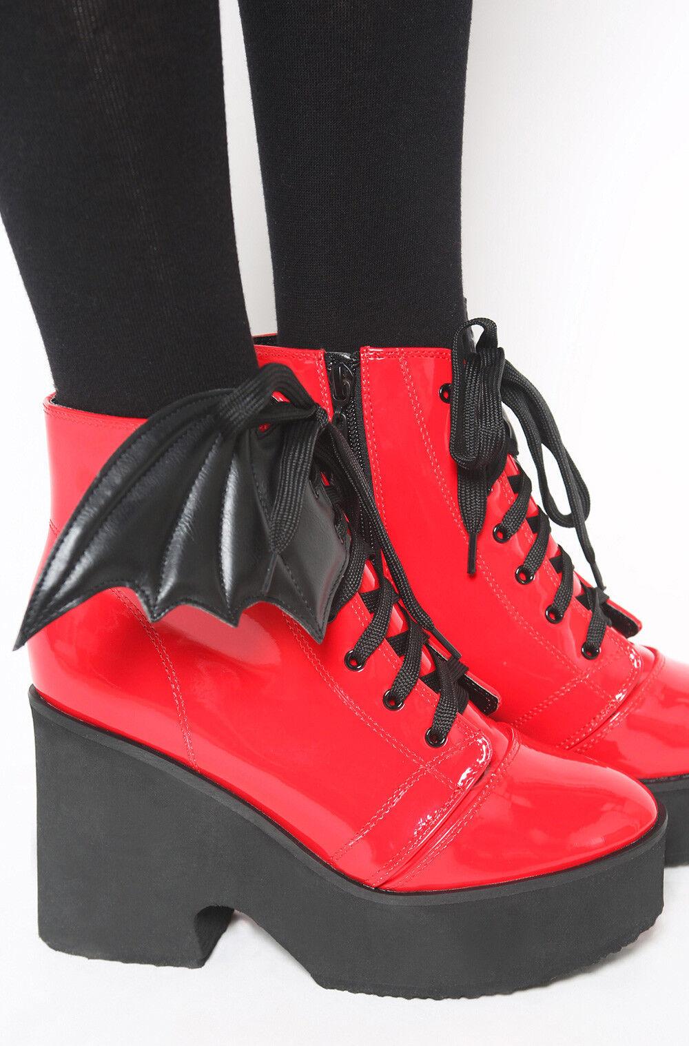 Iron Fist Bat Wing Boot Red Patent Shoes Platform Goth Punk Sexy Dark Heels
