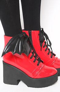 mejor sitio mejor servicio buscar oficial Detalles de Iron Fist Manga Amplia Botas Rojo Zapatos de Charol Plataforma  Gótico Punk Sexy