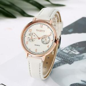 GAIETY-Womens-Ladies-Watches-Rose-Gold-Dial-Leather-Band-Quartz-Wrist-Watch