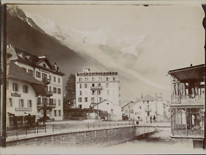 France-Les-cafes-et-hotels-de-Chamonix-ca-1906-vintage-citrate-print-Vintage