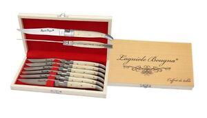 Coffret-6-Couteaux-de-Table-LAGUIOLE-Bougna-OS-Blanc-buffle-Mitres-Inox-Neuf-M