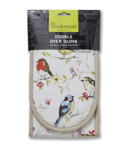 Cooksmart Dawn Chorus oiseaux Four Double Gant Mitt isolé coton cuisine nouveau