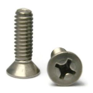#10-32x1-1//4 Flat Head Phillips Machine Screws Steel Zinc Plated 50