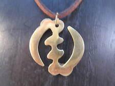 "Gye Nyame ""Supremacy of God"" Adinkra Symbol on Cord Necklace, 1 1/4""  #SHIP350g"